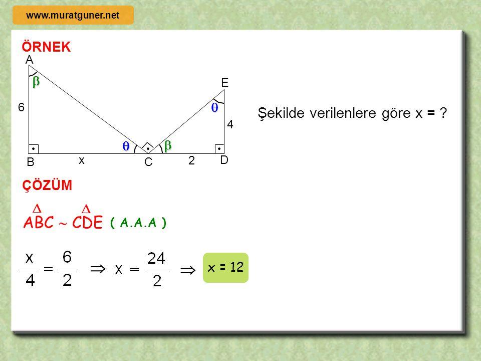 ABC  CDE   Şekilde verilenlere göre x = ÖRNEK     ÇÖZÜM  