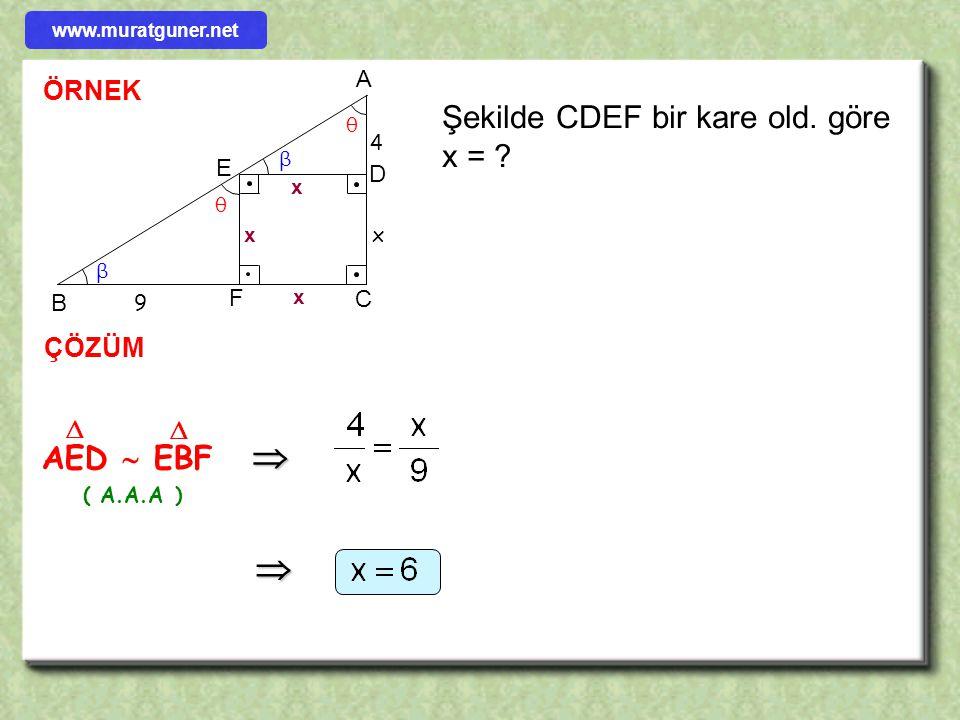   Şekilde CDEF bir kare old. göre x = AED  EBF ÖRNEK ÇÖZÜM   A