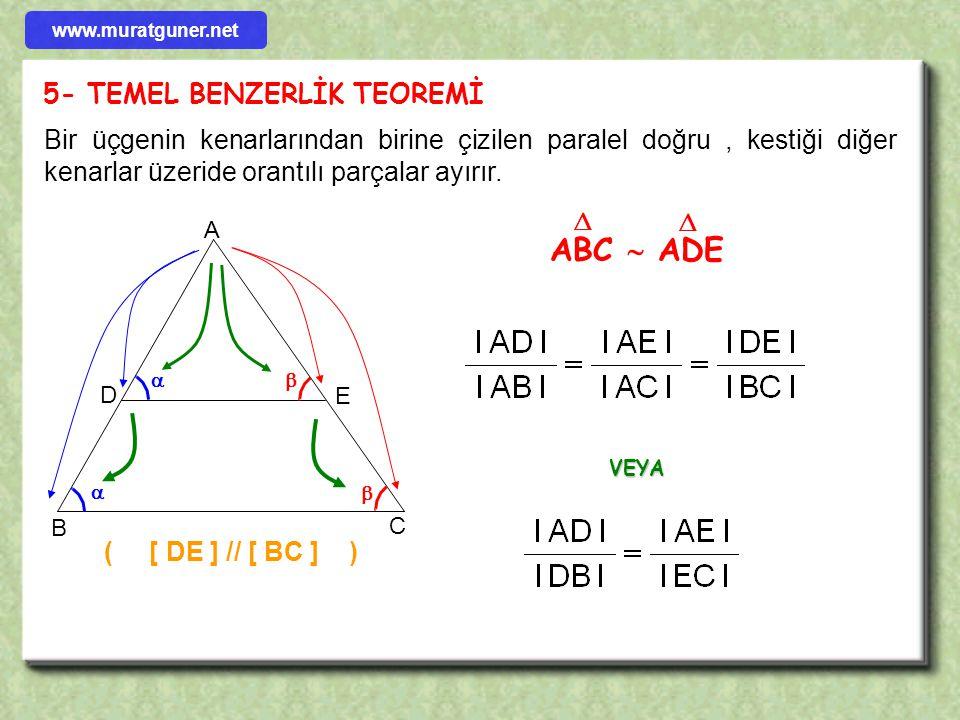 ABC  ADE 5- TEMEL BENZERLİK TEOREMİ