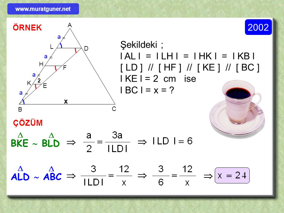 Şekildeki ; l AL l = l LH l = l HK l = l KB l