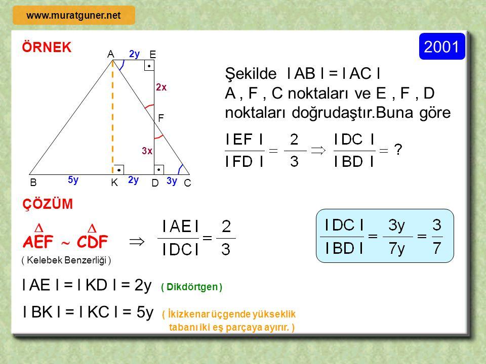 A , F , C noktaları ve E , F , D noktaları doğrudaştır.Buna göre