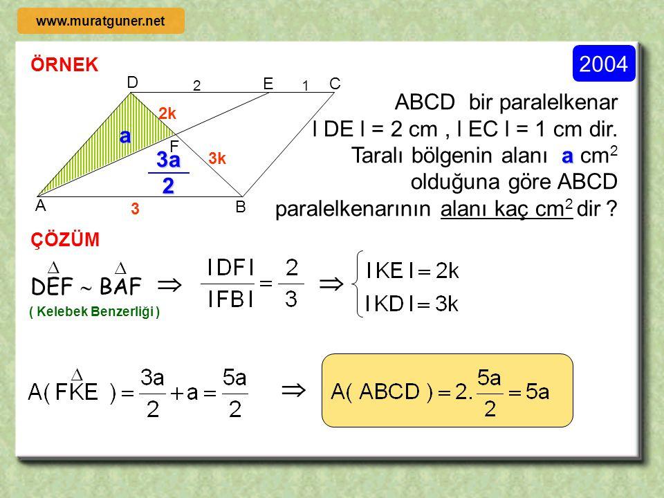    2004 ABCD bir paralelkenar l DE l = 2 cm , l EC l = 1 cm dir.