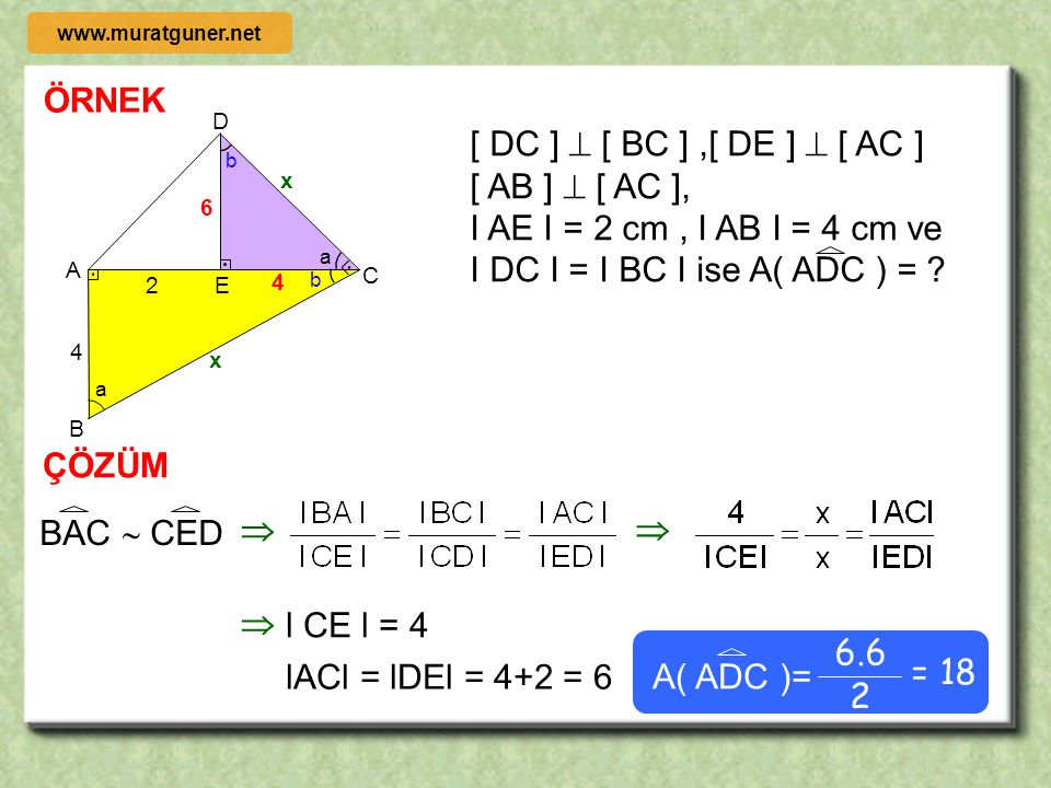 I AE I = 2 cm , I AB I = 4 cm ve I DC I = I BC I ise A( ADC ) =