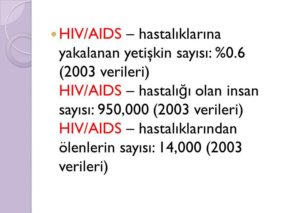 HIV/AIDS – hastalıklarına yakalanan yetişkin sayısı: %0