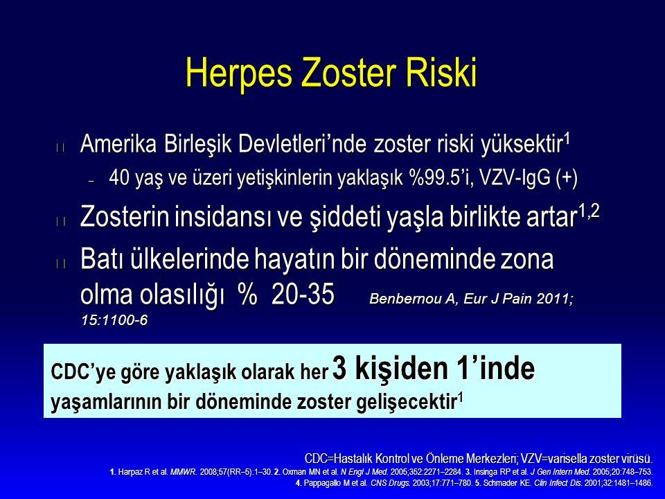 Herpes Zoster Riski Amerika Birleşik Devletleri'nde zoster riski yüksektir1. 40 yaş ve üzeri yetişkinlerin yaklaşık %99.5'i, VZV-IgG (+)