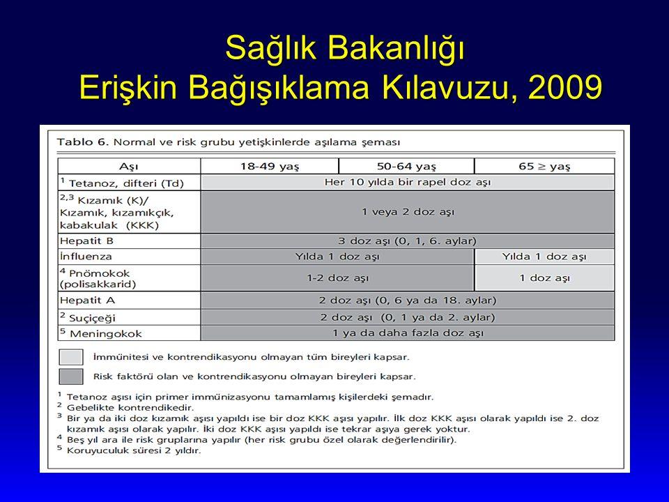 Sağlık Bakanlığı Erişkin Bağışıklama Kılavuzu, 2009