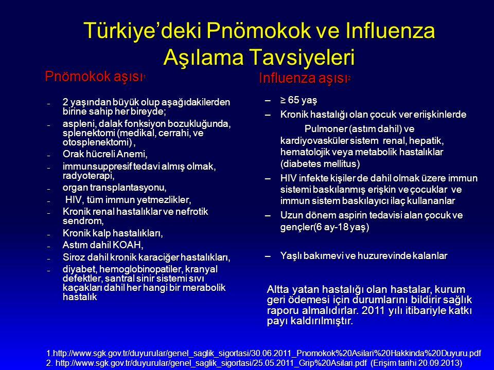 Türkiye'deki Pnömokok ve Influenza Aşılama Tavsiyeleri