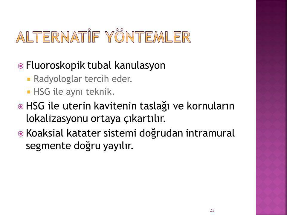 Alternatİf Yöntemler Fluoroskopik tubal kanulasyon