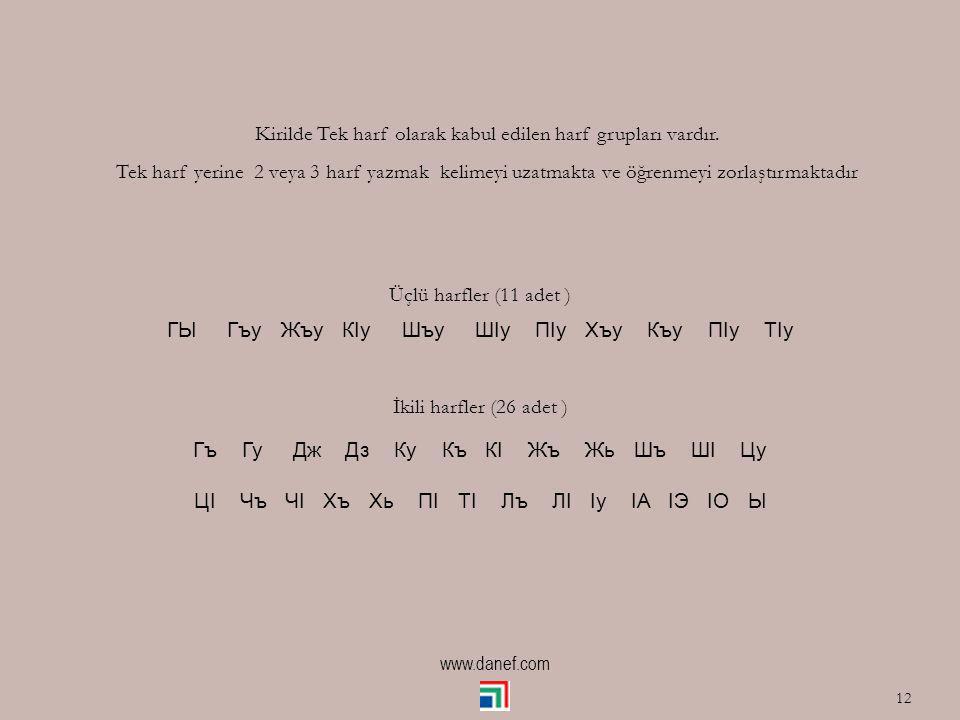Kirilde Tek harf olarak kabul edilen harf grupları vardır.