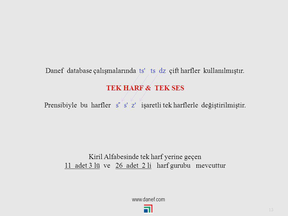 Danef database çalışmalarında ts ts dz çift harfler kullanılmıştır.