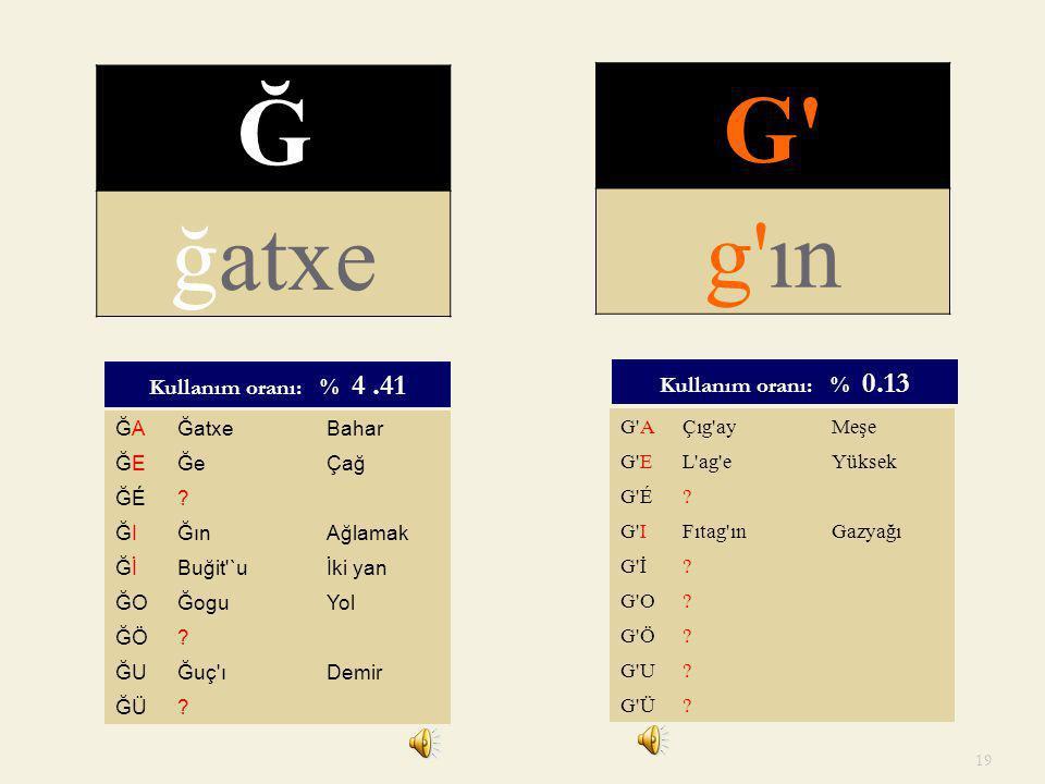 G Ğ ğatxe g ın Kullanım oranı: % 4 .41 Kullanım oranı: % 0.13 ĞA