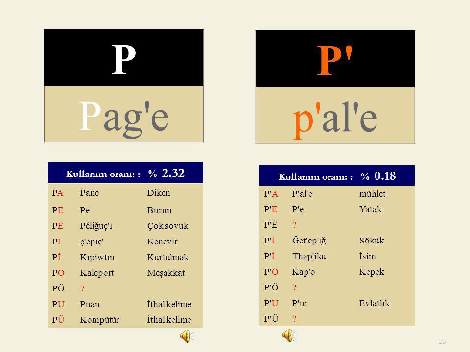 P P Pag e p al e Kullanım oranı: : % 2.32 Kullanım oranı: : % 0.18 PA