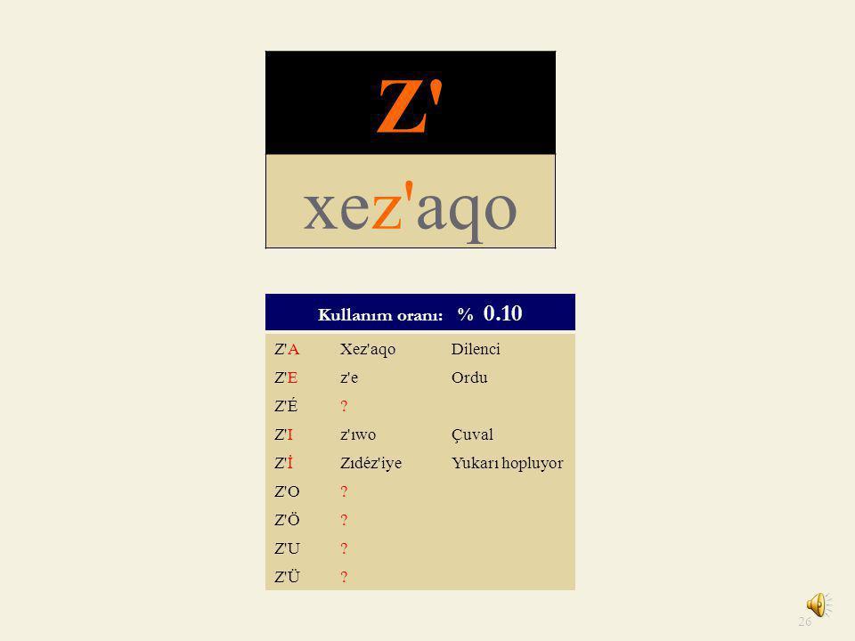 Z xez aqo Kullanım oranı: % 0.10 Z A Xez aqo Dilenci Z E z e Ordu Z É