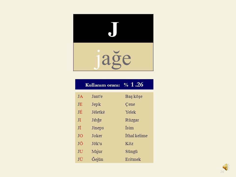J jağe Kullanım oranı: % 1 .26 JA Jant e Baş köşe JE Jepk Çene JÉ