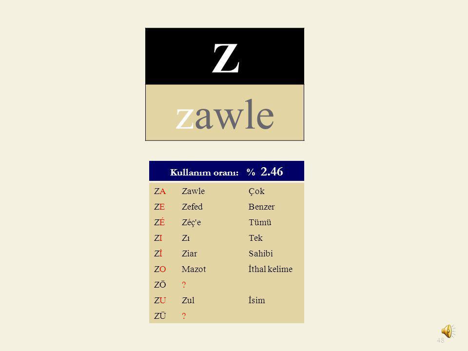 Z zawle Kullanım oranı: % 2.46 ZA Zawle Çok ZE Zefed Benzer ZÉ Zéç e
