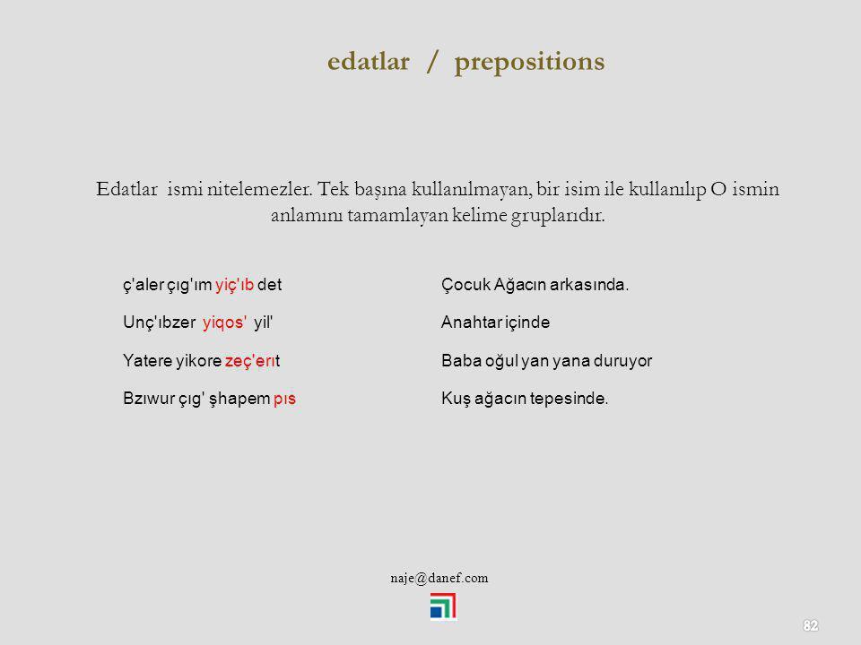 edatlar / prepositions