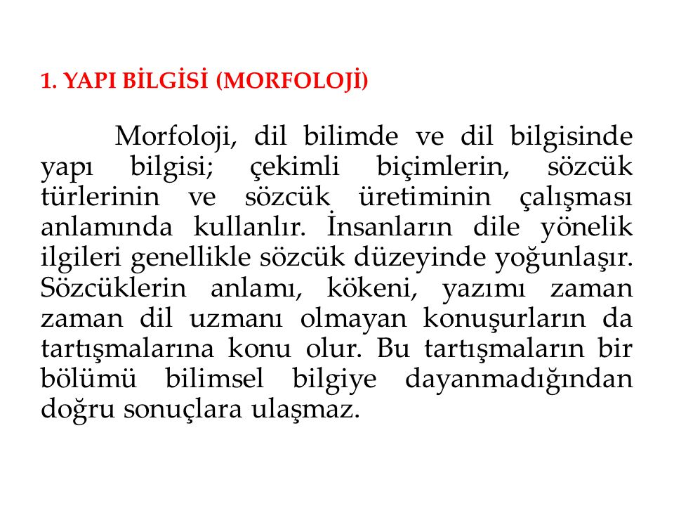 1. YAPI BİLGİSİ (MORFOLOJİ)