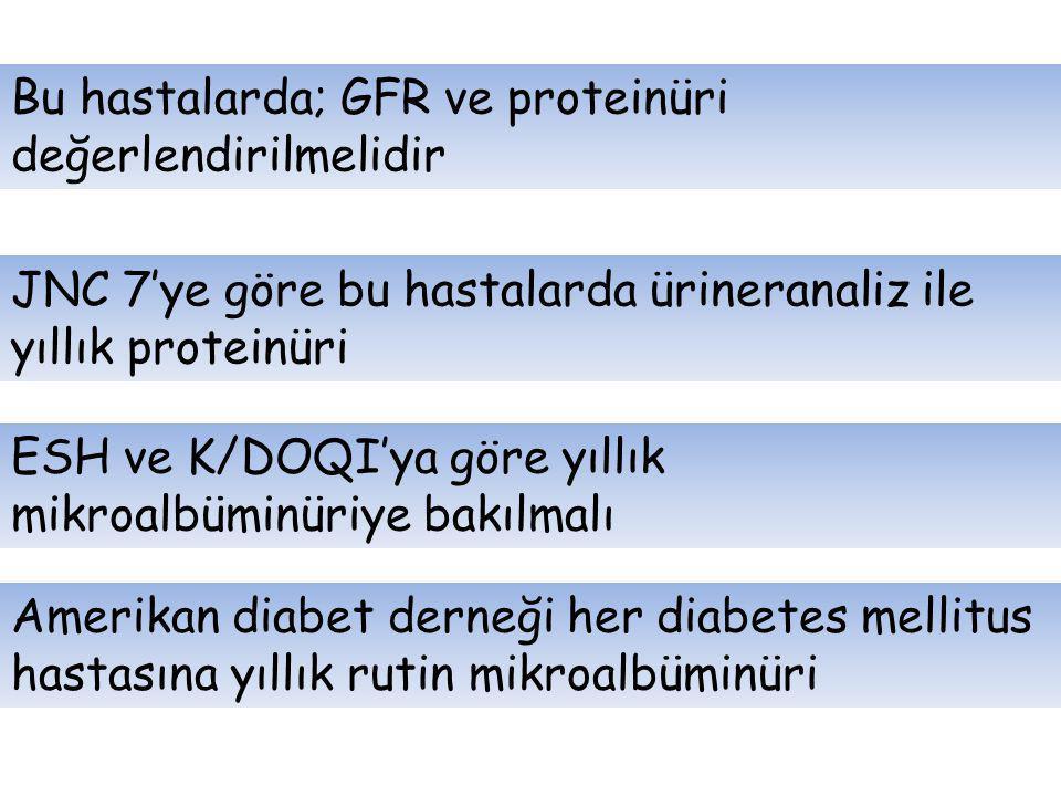 Bu hastalarda; GFR ve proteinüri değerlendirilmelidir