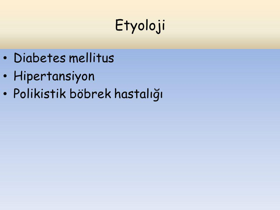 Etyoloji Diabetes mellitus Hipertansiyon Polikistik böbrek hastalığı