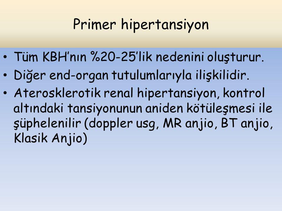 Primer hipertansiyon Tüm KBH'nın %20-25'lik nedenini oluşturur.