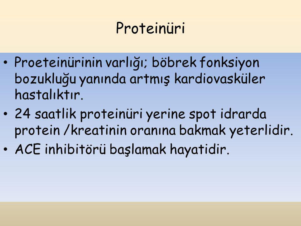 Proteinüri Proeteinürinin varlığı; böbrek fonksiyon bozukluğu yanında artmış kardiovasküler hastalıktır.