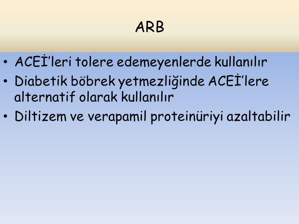 ARB ACEİ'leri tolere edemeyenlerde kullanılır