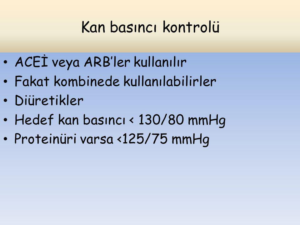 Kan basıncı kontrolü ACEİ veya ARB'ler kullanılır