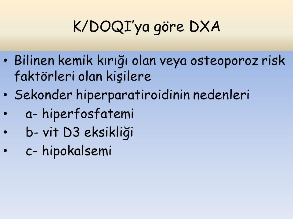 K/DOQI'ya göre DXA Bilinen kemik kırığı olan veya osteoporoz risk faktörleri olan kişilere. Sekonder hiperparatiroidinin nedenleri.