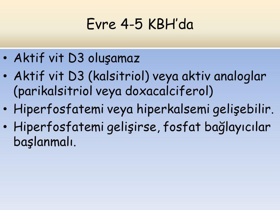 Evre 4-5 KBH'da Aktif vit D3 oluşamaz