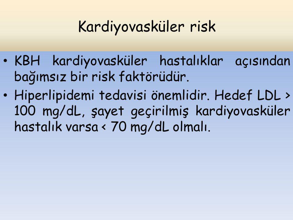 Kardiyovasküler risk KBH kardiyovasküler hastalıklar açısından bağımsız bir risk faktörüdür.