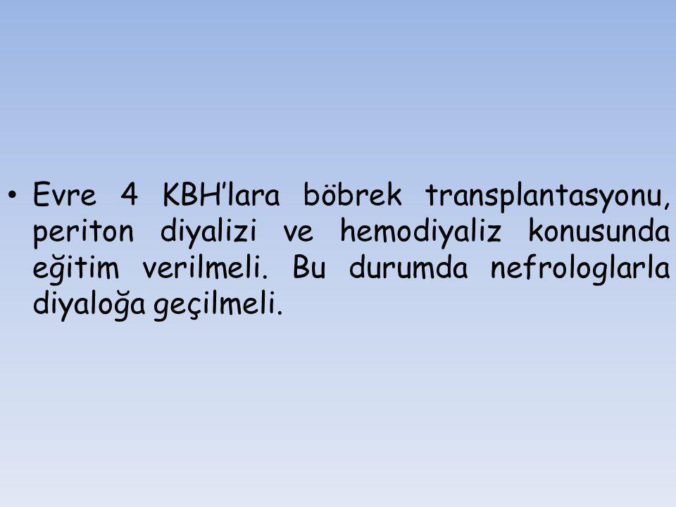 Evre 4 KBH'lara böbrek transplantasyonu, periton diyalizi ve hemodiyaliz konusunda eğitim verilmeli.