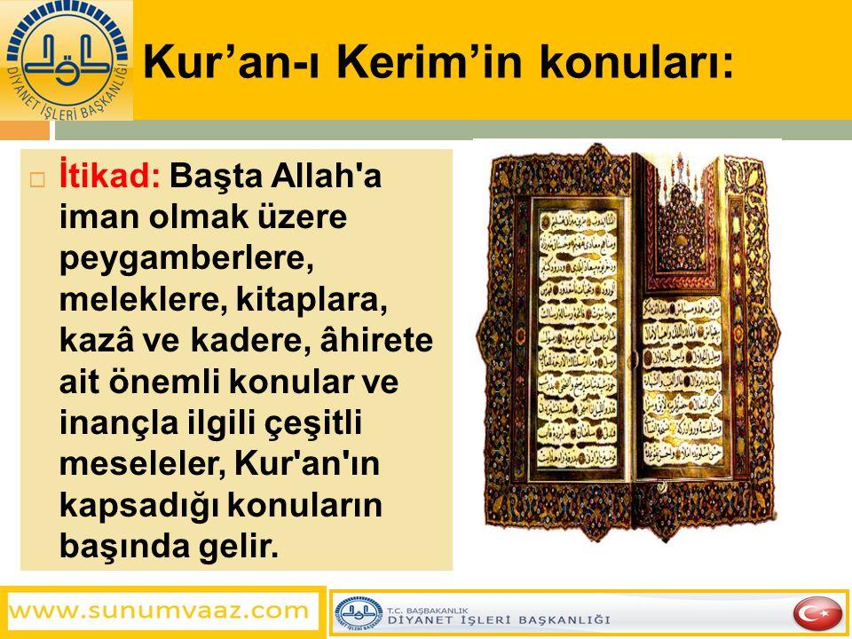Kur'an-ı Kerim'in konuları: