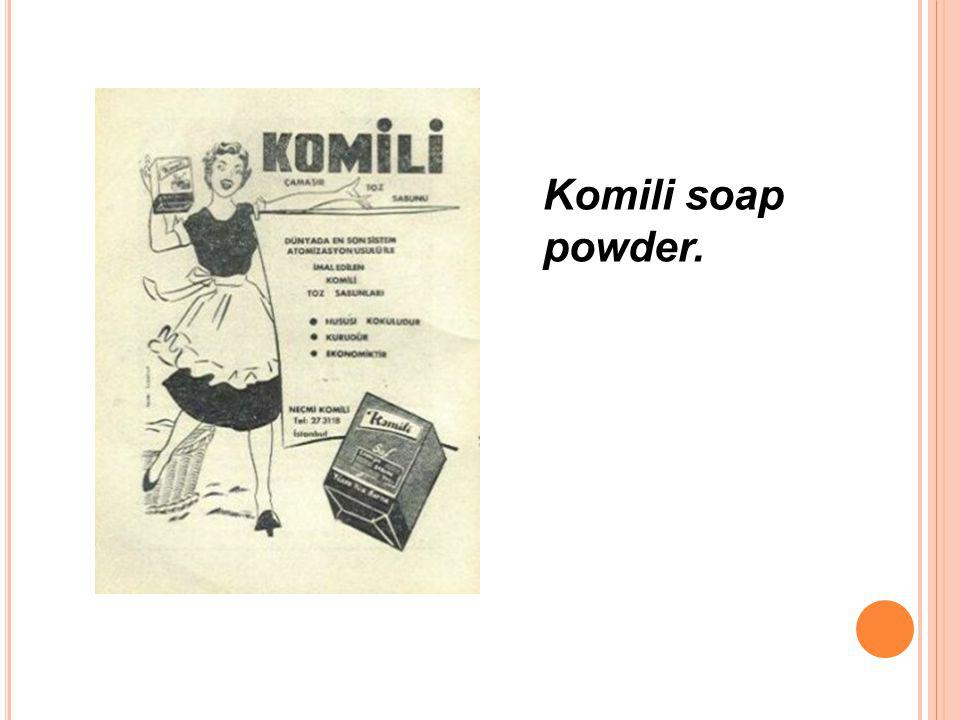 Komili soap powder.