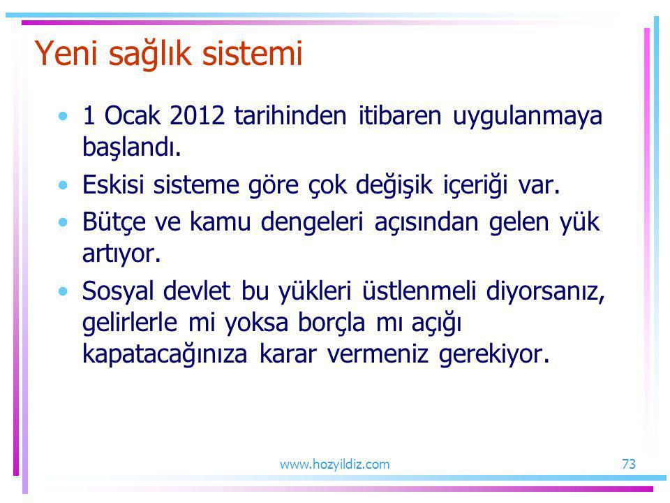 Yeni sağlık sistemi 1 Ocak 2012 tarihinden itibaren uygulanmaya başlandı. Eskisi sisteme göre çok değişik içeriği var.