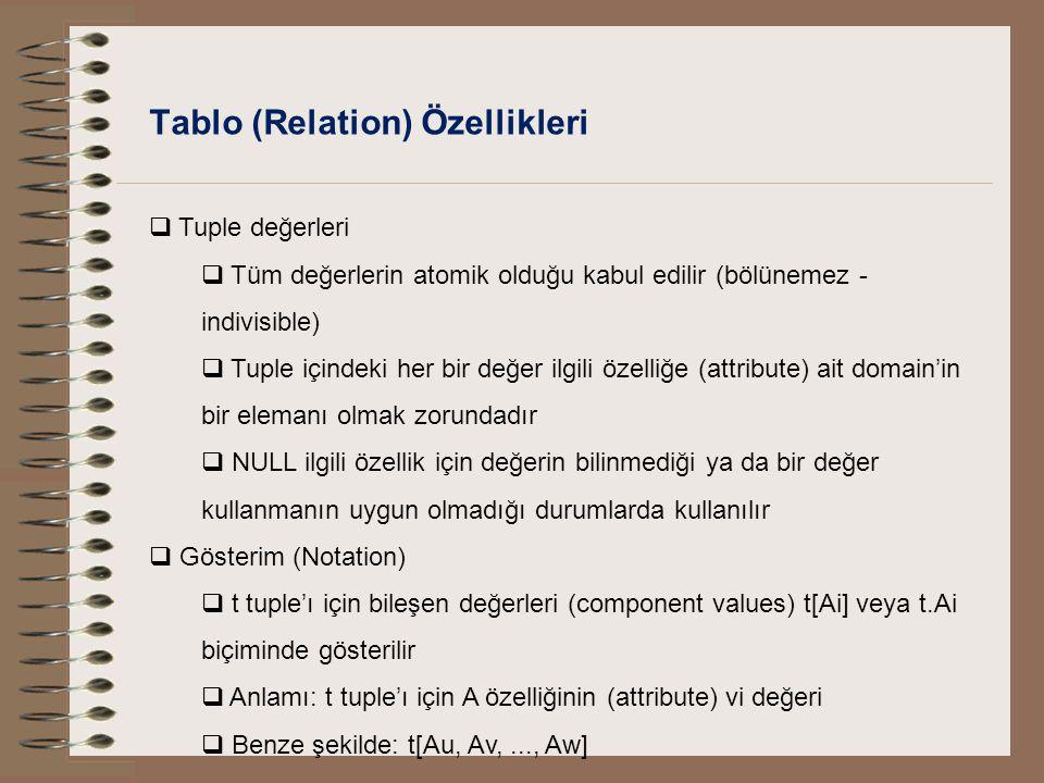 Tablo (Relation) Özellikleri