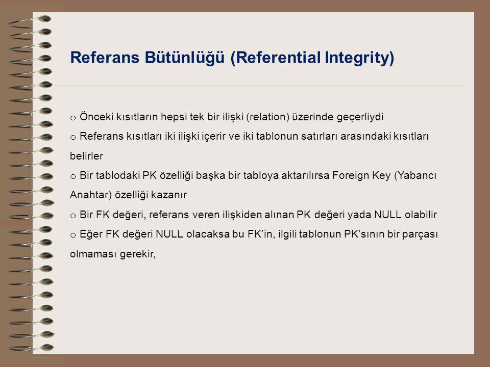 Referans Bütünlüğü (Referential Integrity)