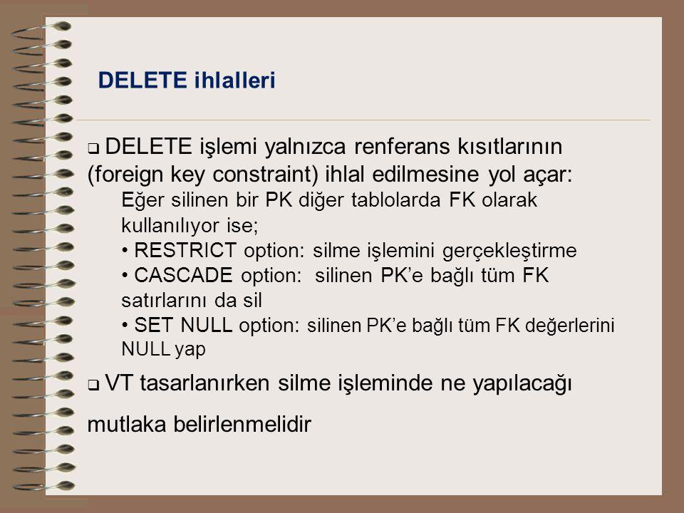 DELETE ihlalleri DELETE işlemi yalnızca renferans kısıtlarının (foreign key constraint) ihlal edilmesine yol açar: