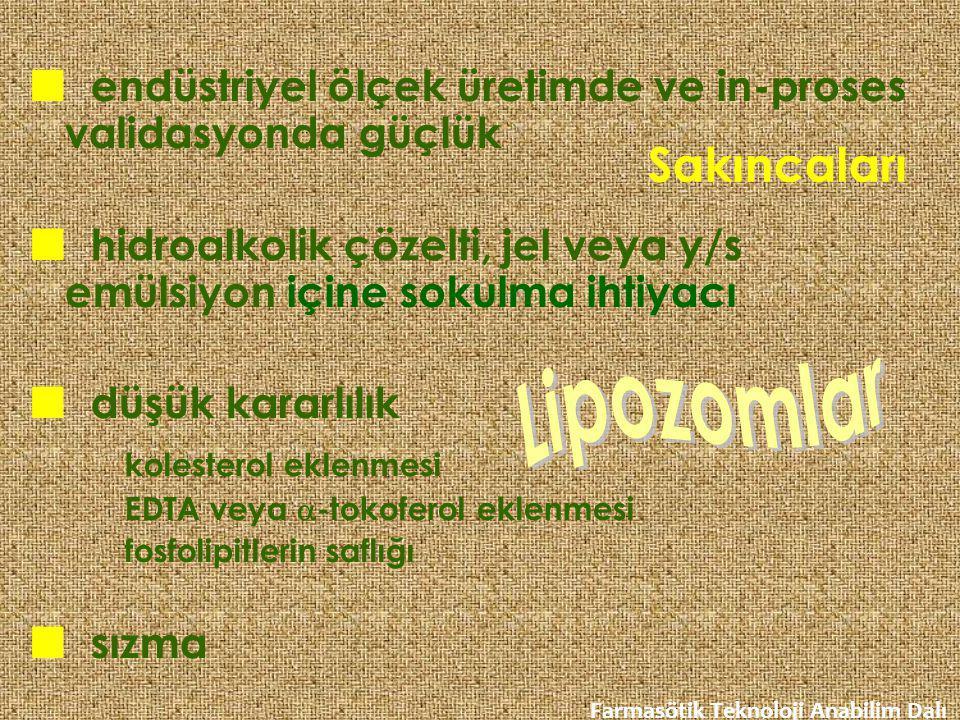 Sakıncaları Lipozomlar