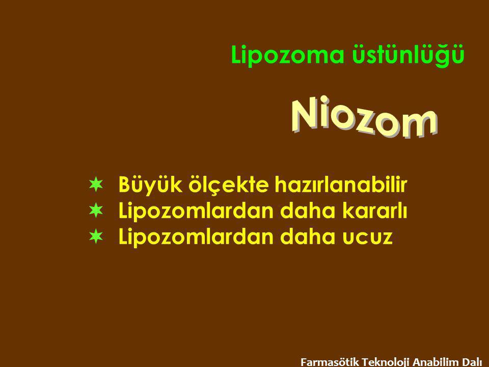 Lipozoma üstünlüğü Niozom  Büyük ölçekte hazırlanabilir