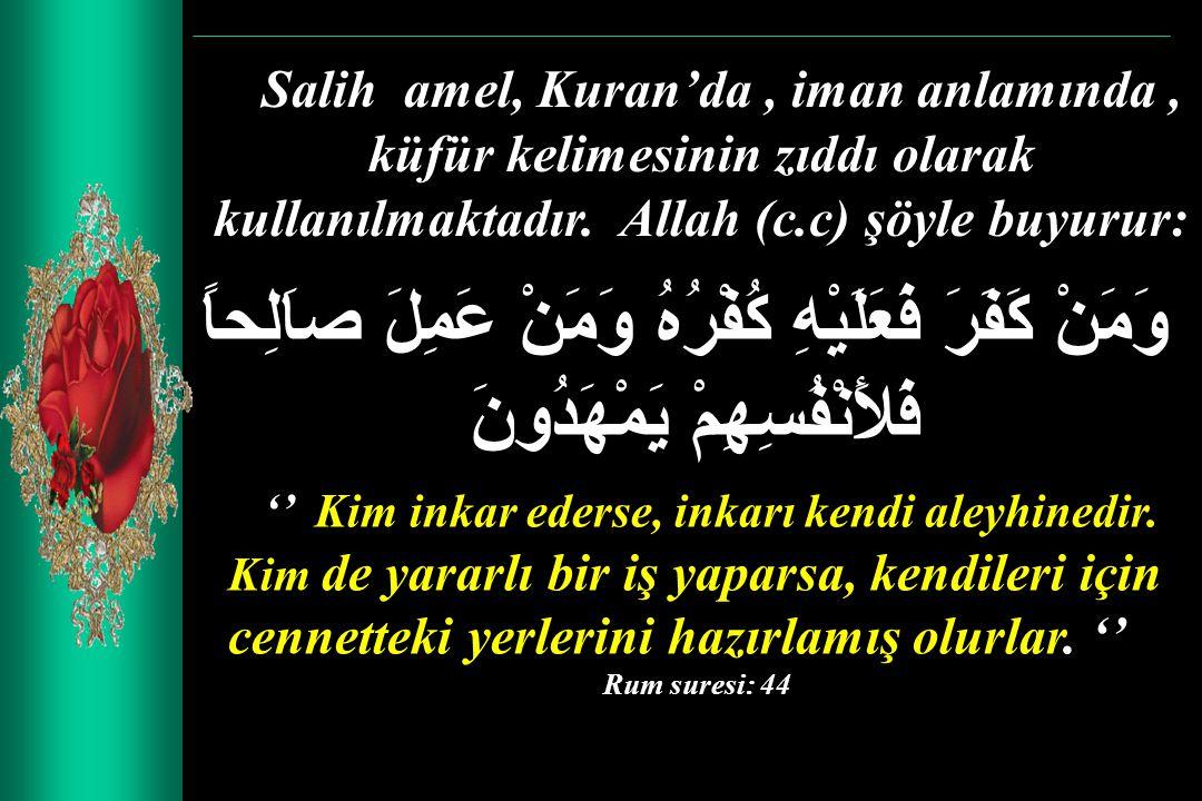 Salih amel, Kuran'da , iman anlamında , küfür kelimesinin zıddı olarak kullanılmaktadır. Allah (c.c) şöyle buyurur: