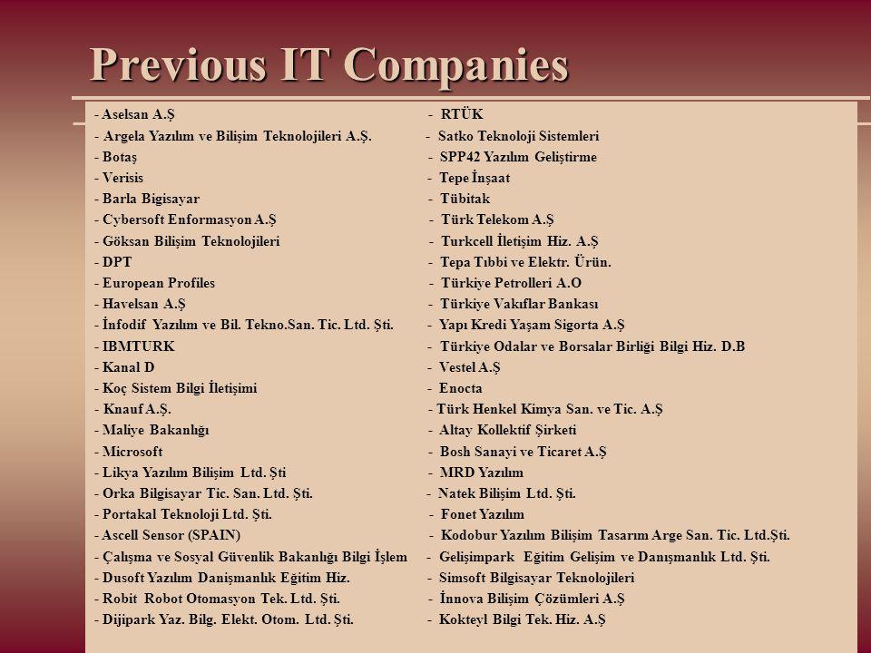 Previous IT Companies - Aselsan A.Ş - RTÜK