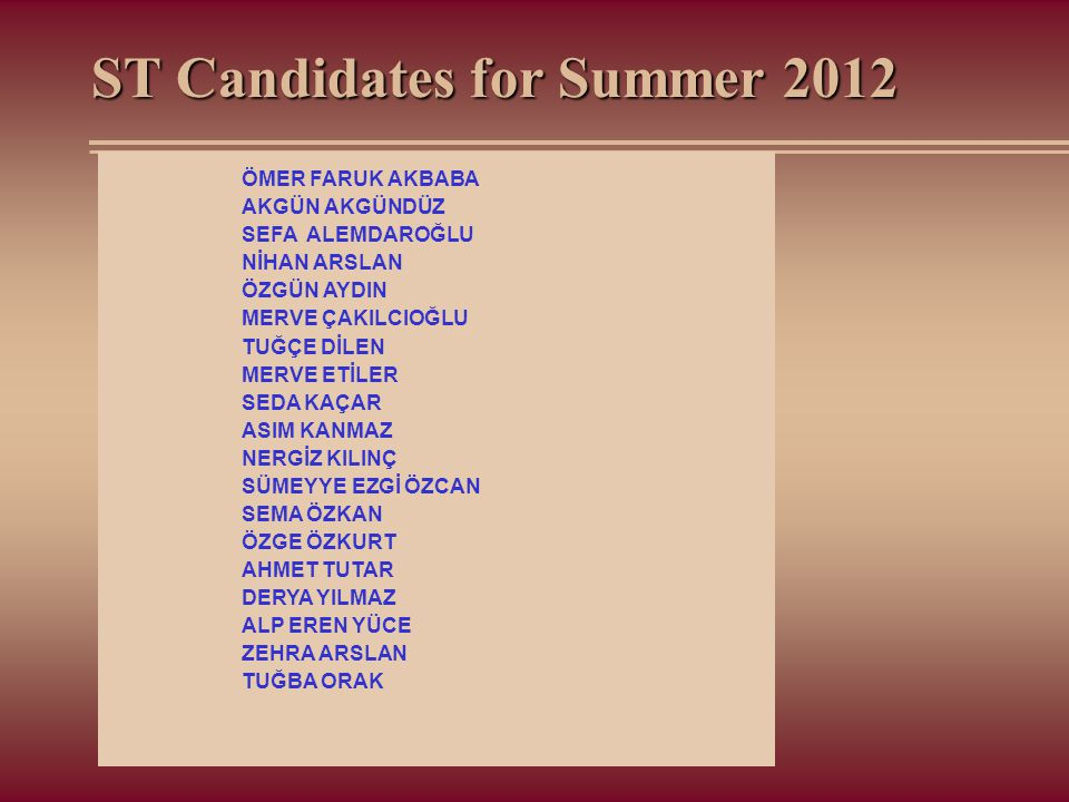 ST Candidates for Summer 2012