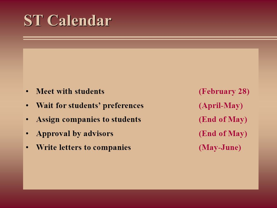 ST Calendar Meet with students (February 28)