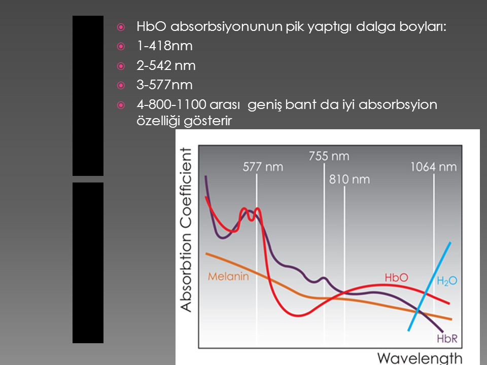 HbO absorbsiyonunun pik yaptıgı dalga boyları: 1-418nm 2-542 nm