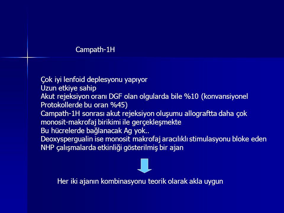 Campath-1H Çok iyi lenfoid deplesyonu yapıyor. Uzun etkiye sahip. Akut rejeksiyon oranı DGF olan olgularda bile %10 (konvansiyonel.