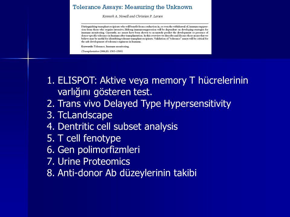 ELISPOT: Aktive veya memory T hücrelerinin varlığını gösteren test.