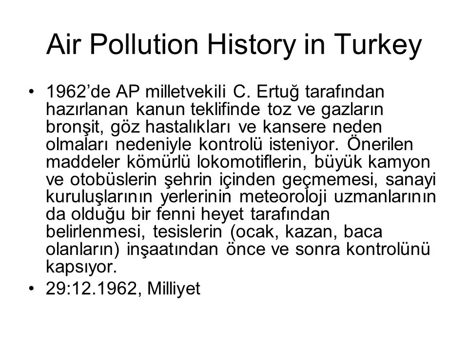 Air Pollution History in Turkey
