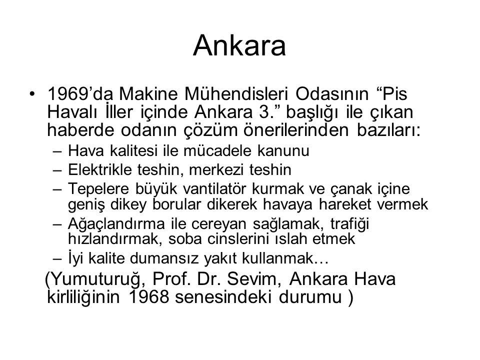 Ankara 1969'da Makine Mühendisleri Odasının Pis Havalı İller içinde Ankara 3. başlığı ile çıkan haberde odanın çözüm önerilerinden bazıları: