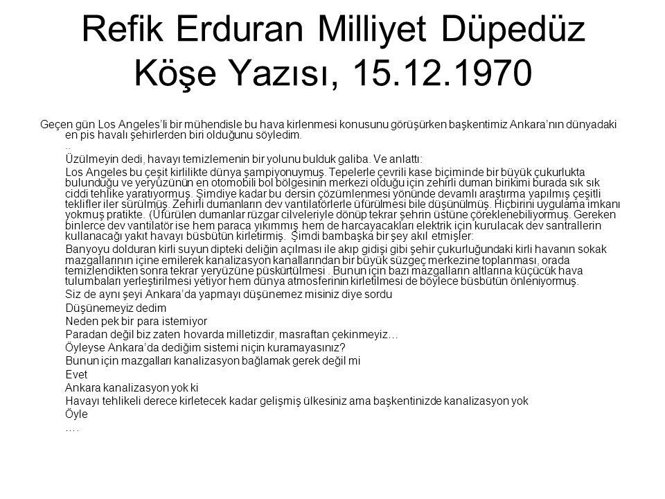 Refik Erduran Milliyet Düpedüz Köşe Yazısı, 15.12.1970