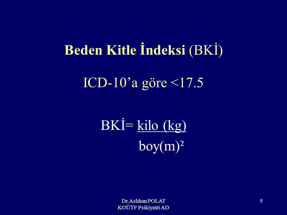 Beden Kitle İndeksi (BKİ) ICD-10'a göre <17.5